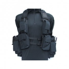 Tactical Vest zwart 12 pouches