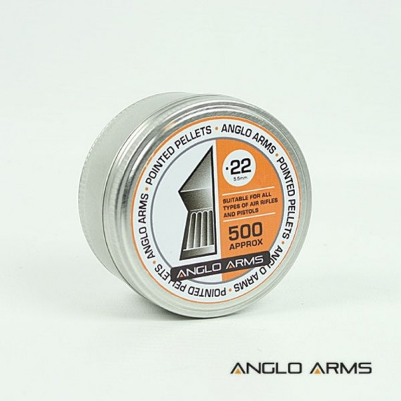 Tin of 500 Anglo Arms .22 (5.5mm