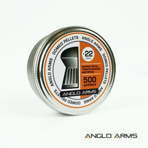 Bakje met  500 Anglo Arms .22 (5.5mm) Domed kogels